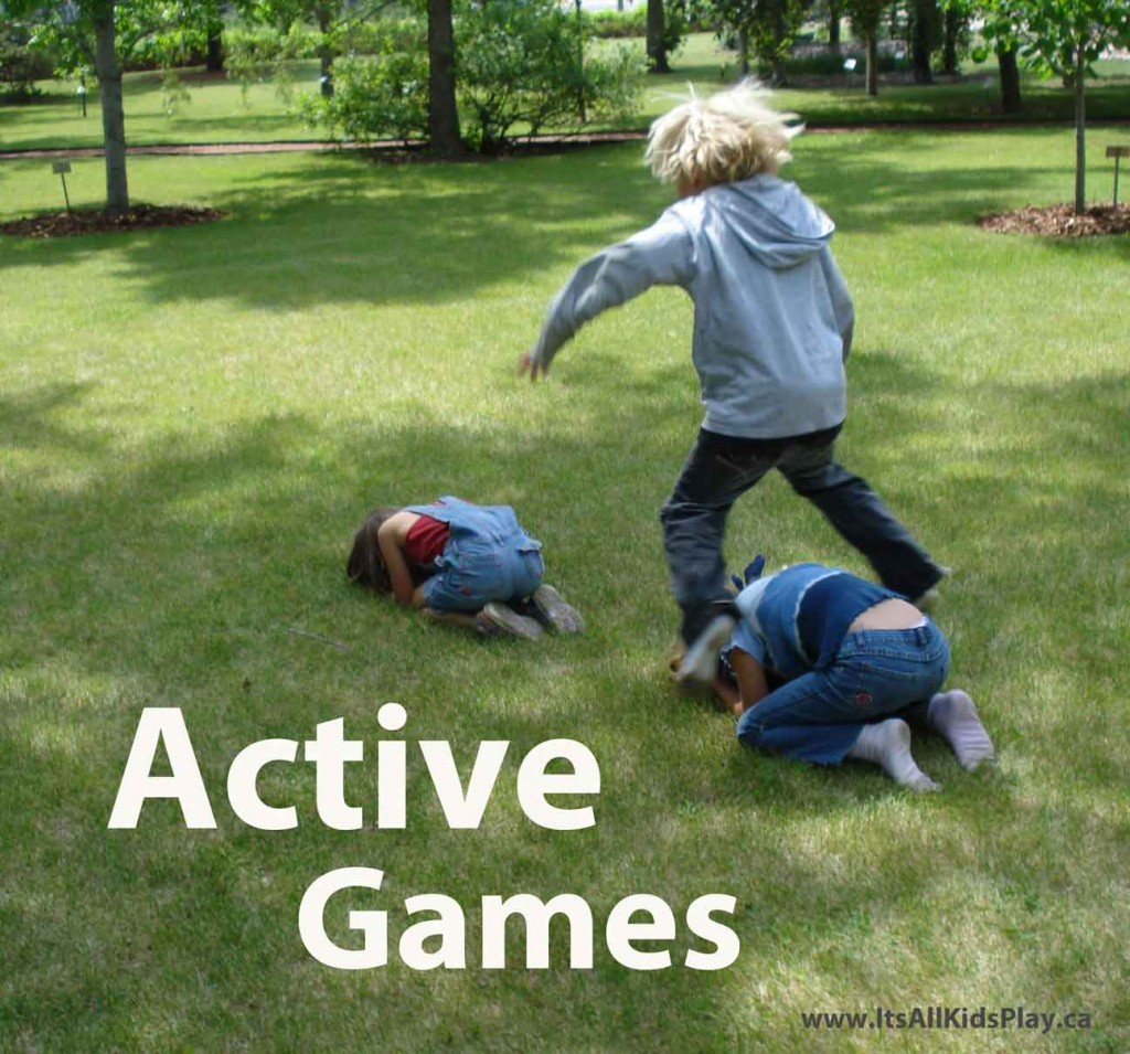 Kids Playing Leap Frog for active outside games