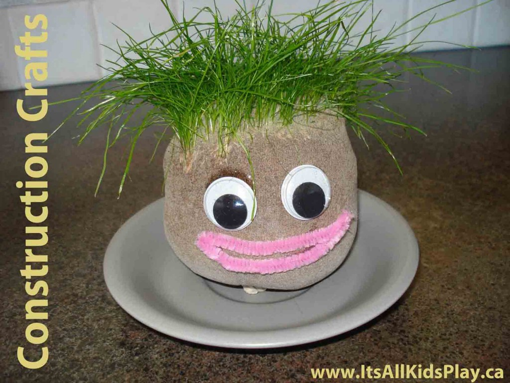 Make your own grass head craft for kids