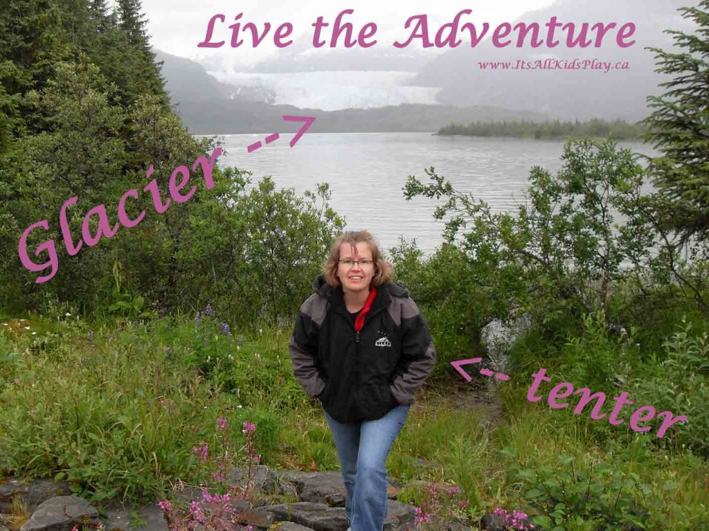 Live the Adventure: a tenter at the base of a glacier in Alaska.