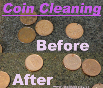 Cleaning pennies. A before and after picture.