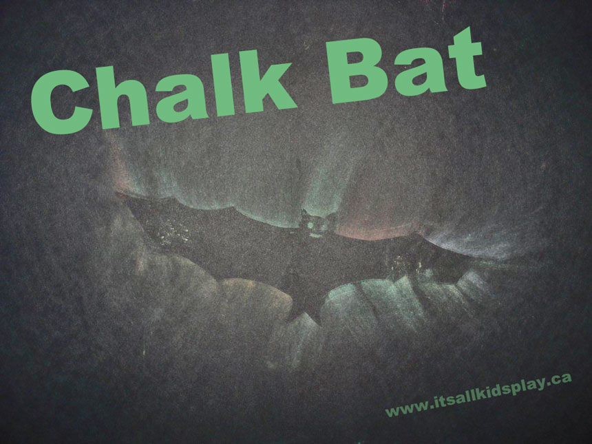 Chalk Art that is a Bat Tracing For Kids This Halloween