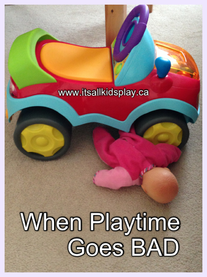 When playtime goes bad--toy car running over doll